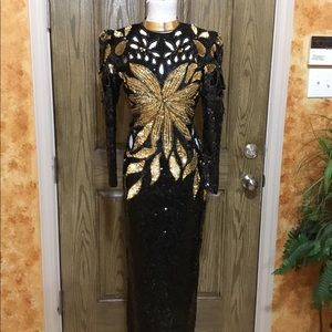 Beaded sequins silk vintage Cutout evening gown